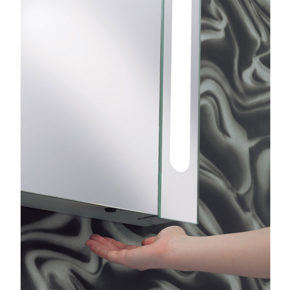 Bauhaus - 600mm Illuminated Aluminium Mirrored Cabinet with Shaving Socket - CB6080AL profile large image view 3