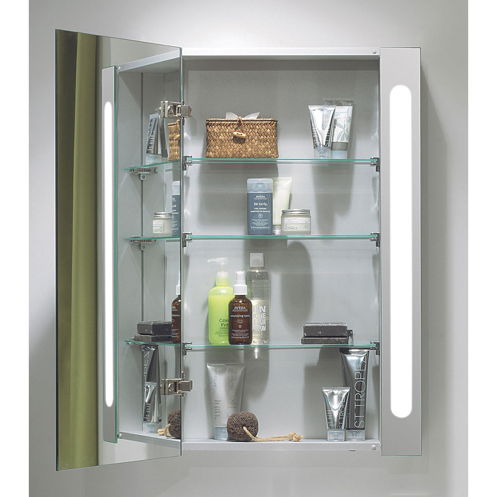 Bauhaus - 400mm Illuminated Aluminium Mirrored Cabinet with Shaving Socket - CB4080AL Standard Large Image