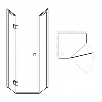 Simpsons 900 x 900mm Design Pentagon Enclosure (Inc. Shower Tray + Waste) profile large image view 4