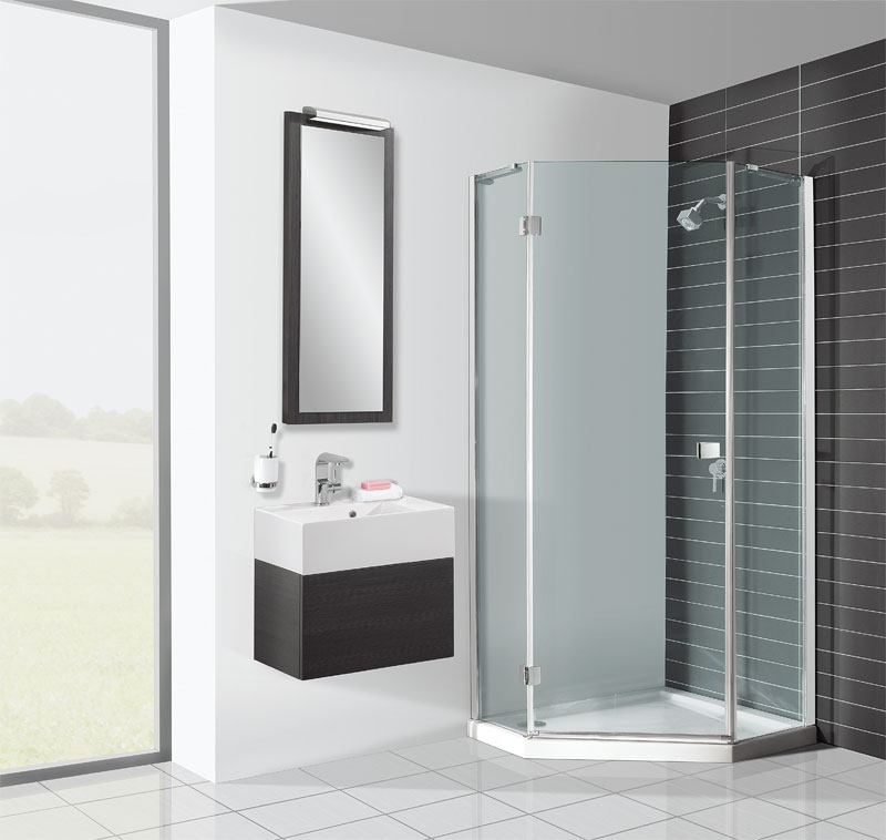 Simpsons 900 x 900mm Design Pentagon Enclosure (Inc. Shower Tray + Waste) Large Image