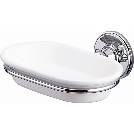 Burlington Ceramic Soap Dish with Chrome Holder - A1CHR Large Image