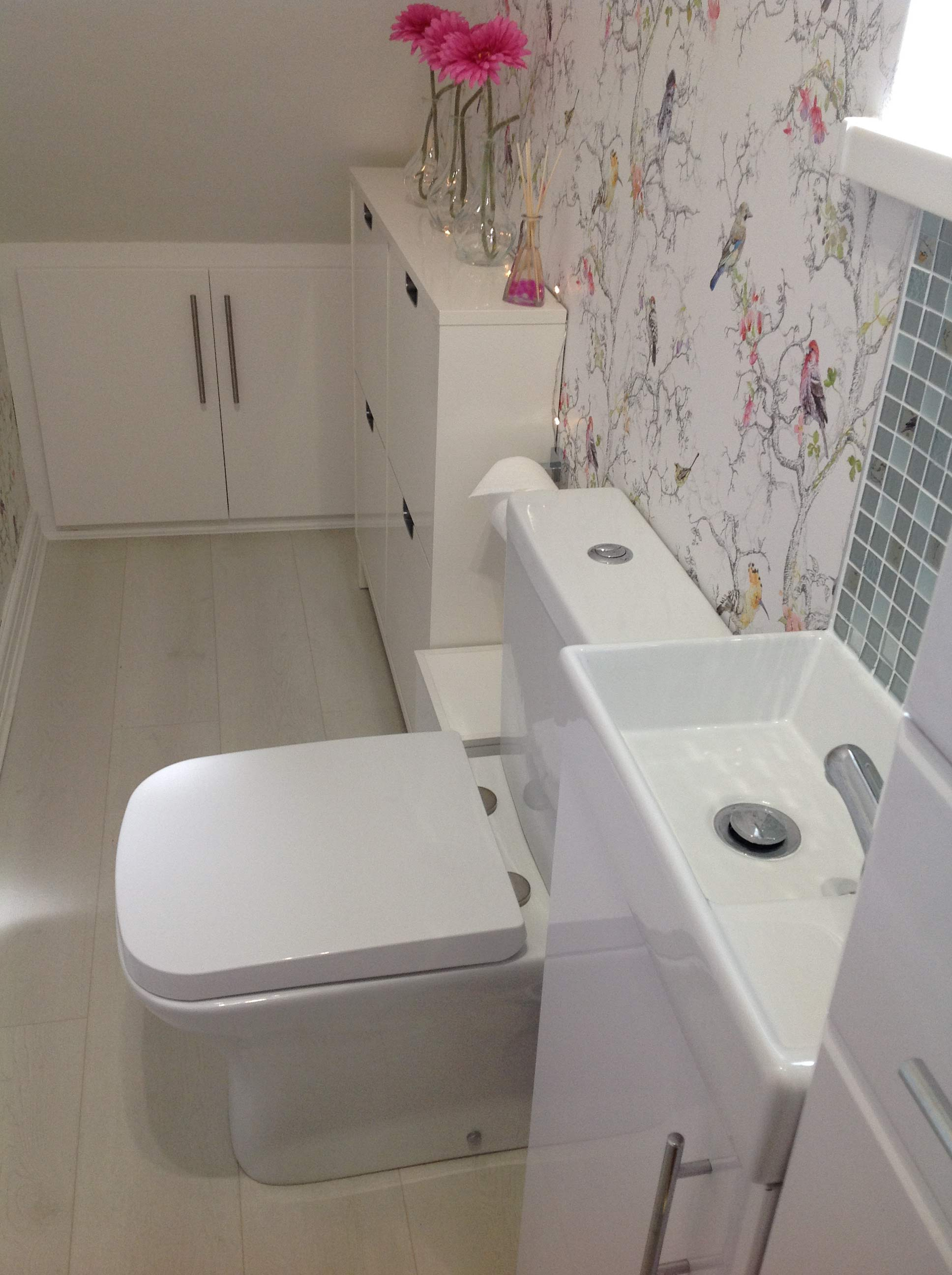 Tracey's short projection toilet and tall boy bathroom cabinet | Tracey's Under Stairs Bathroom - Barnoldswick, Lancashire