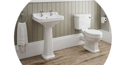 traditional toilet and basin suites