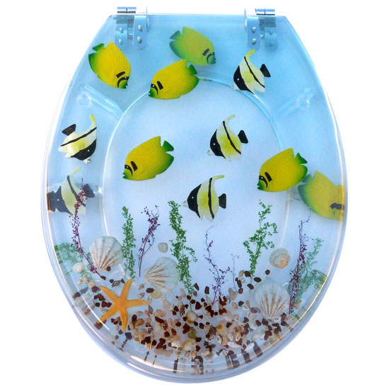 Tropical Fish Clear Resin Toilet Seat - 81110 Large Image