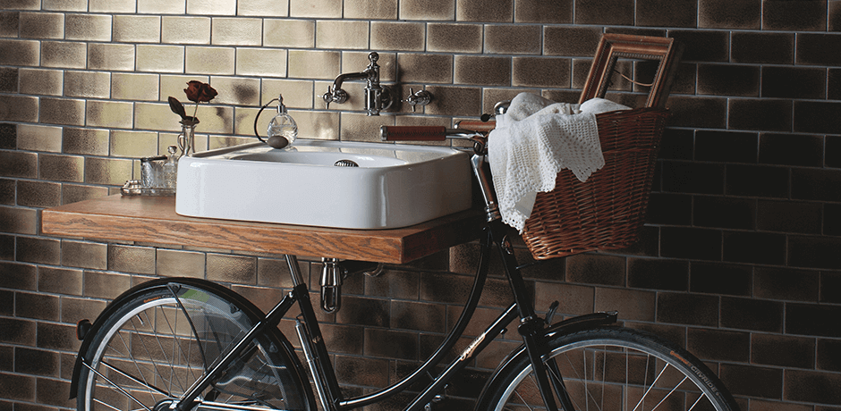 bicycle with wash basin for bathroom
