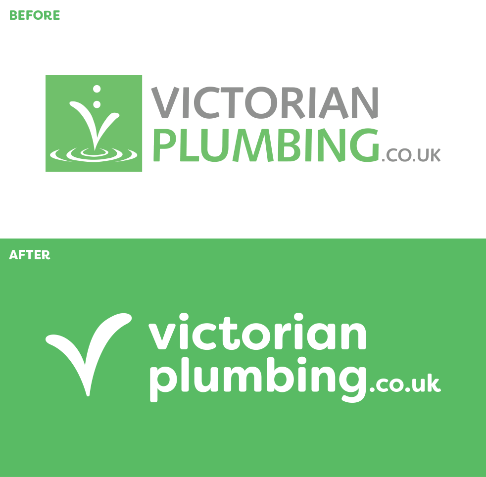 Victorian Plumbing logo before and after